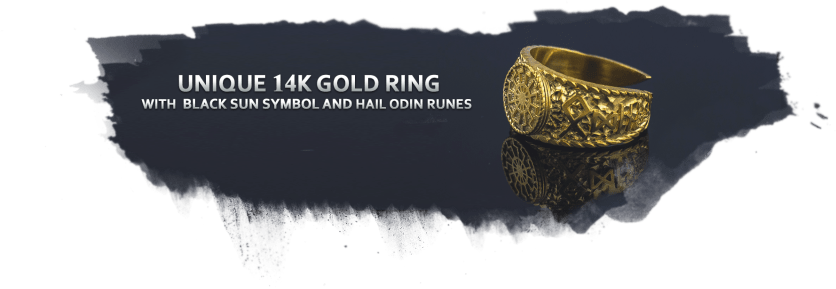 Unique Golg Black Sun Ring